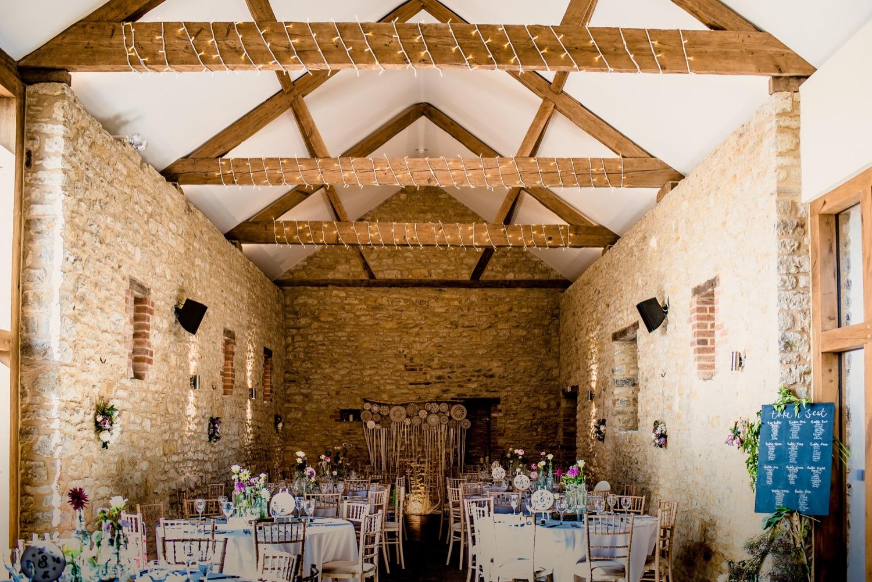 Beautifully refurbished barn set up for a wedding at Huntsmill Farm