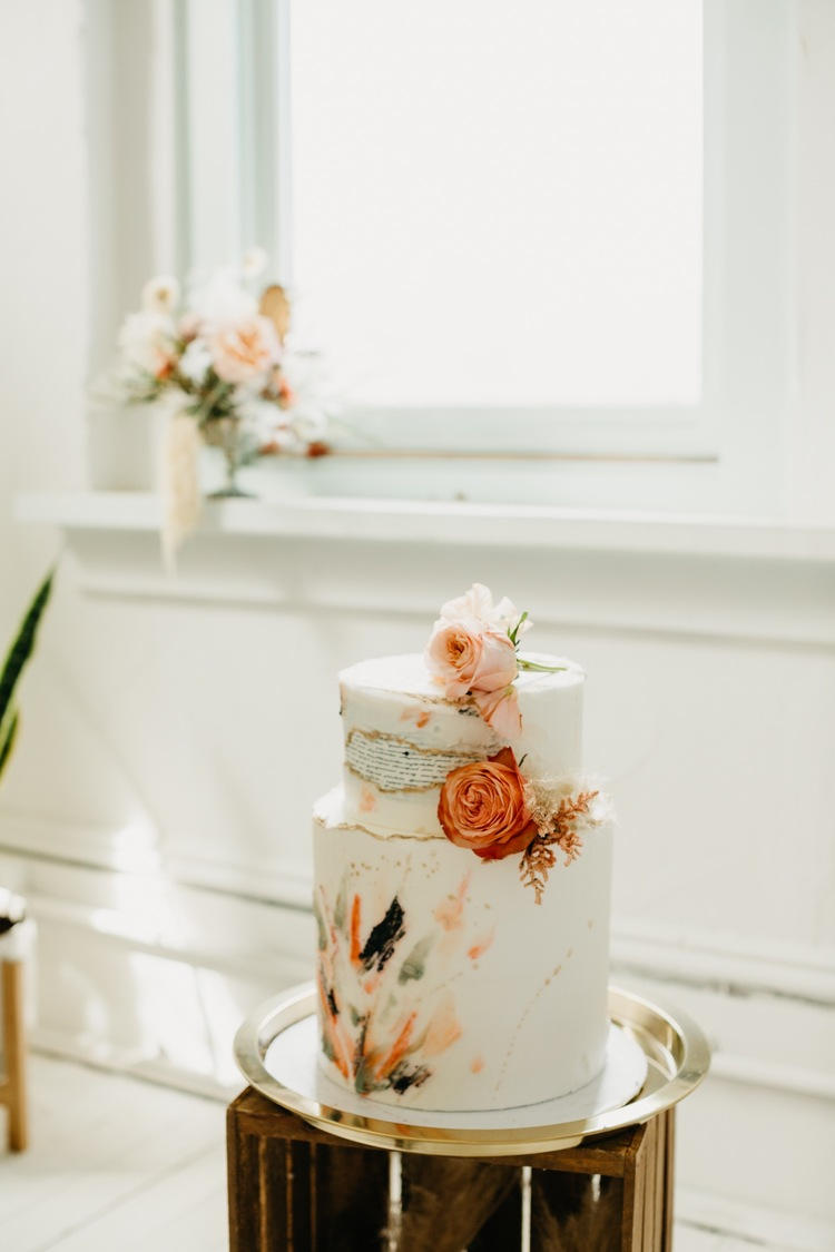 bohemian inspired wedding cake