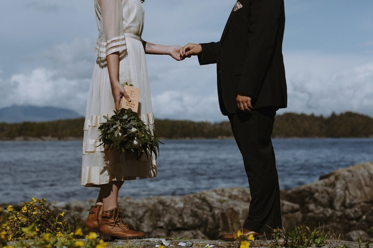 wedding couple newly married in tofino during elopement