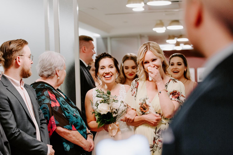 Bride walking down the aisle with Mum in St. George Hotel Helsinki.